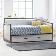 Twin size Modern Metal Frame Daybed with Pull-out Trundle Bed in Glossy White Finish TMJDB5198451