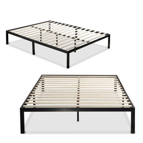 Twin Black Metal Platform Bed Frame with Wood Slats