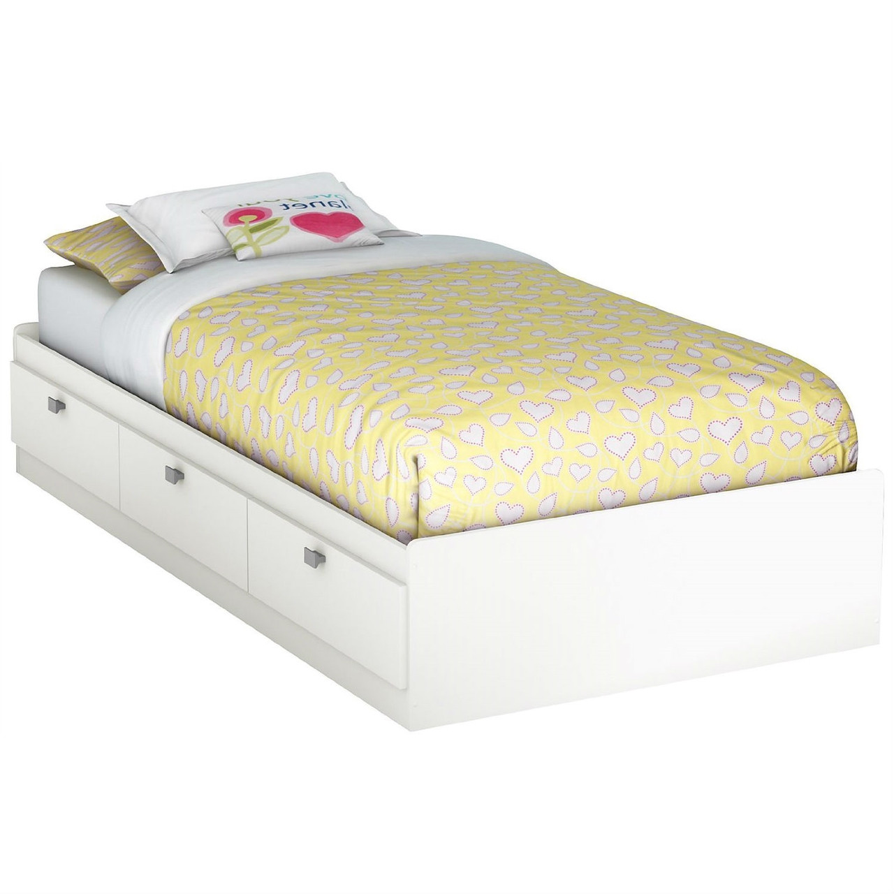 Twin white platform bed for kids teens adults with 3 for Short twin bed frame
