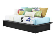 Twin Black Faux Leather Upholstered Platform Bed Frame with Wood Slats SSTW88311