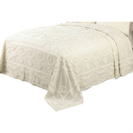 King size 100-Percent Cotton Chenille Bedspread in Ecru Off-White Ivory Beige Color MHCV7316571