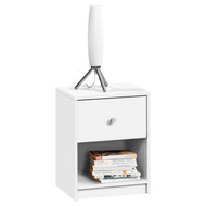 Contemporary 1-Drawer Nightstand with Storage Shelf in White TNS422591
