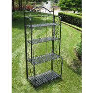 Indoor / Outdoor Folding Metal Bakers Rack with 4-Tier Lattice Shelves in Black Iron BFM859148251
