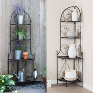Indoor / Outdoor Corner Bakers Rack Folding Metal Plant Stand with 4-Shelves BIOFBR51981