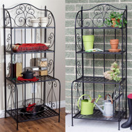 Indoor / Outdoor  Folding Metal Bakers Rack Plant Stand with 4 Shelves BIOFBR519852