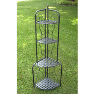 Indoor / Outdoor Folding Corner Bakers Rack 4-Shelf Lattice Plant Stand OMCBR196815
