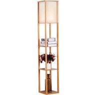 Modern 63-inch Tall Asian Style Floor Lamp with Off-White Shade in Natural Finish NWFL8486521