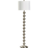 Contemporary 65-inch Tall Brushed Steel Floor Lamp with White Drum Shade PFLVG56845481