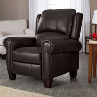 High Quality Top Grain Leather Upholstered Wingback Recliner Club Chair in Chocolate Brown TGLC5198844158