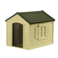 Durable Outdoor Plastic Dog House in Taupe and Bronze - For Dogs up to 70 pounds SDHTB519815