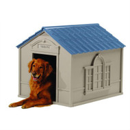 Outdoor Dog House in Taupe and Blue Roof Durable Resin - For Dogs up to 100 lbs SLDF519815
