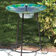 Outdoor Garden Solar Fountain Bird Bath with Peacock Glass Basin and Steel Stand PGSBF51985871