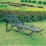 Outdoor Multi-Position Iron Chaise Lounge Chair in Black SMPCL199
