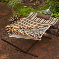 Outdoor Patio Deck 11-Ft Hammock with Metal Stand and Pad Pillow Set CRMA685415