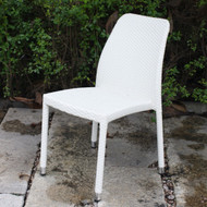 All-Weather White Wicker Resin Outdoor Stacking Patio Dining Side Chair MCSDC1395421