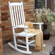 Indoor/Outdoor Patio Porch White Slat Rocking Chair MCSWH1488