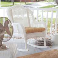 Indoor/Outdoor Patio Porch White Resin Wicker Rocking Chair WICDW1488