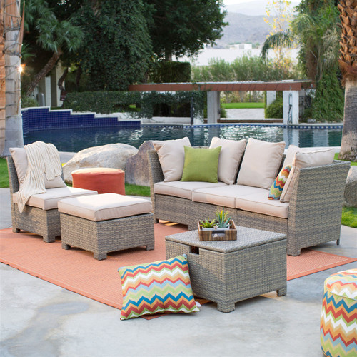 Natural Outdoor Wicker Resin Patio Furniture Conversation Set SAWNO5884452