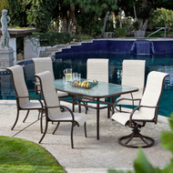 Rectangular Glass Top Patio Dining Table with Mocha Brown Frame 72 x 42 inch CRGPD519815