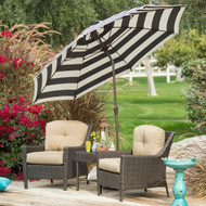 7.5-Ft Patio Umbrella with Dark Navy and White Stripe Outdoor Fabric Canopy and Metal Pole RPUB65841852