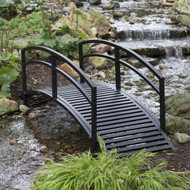 Modern 8-Ft Metal Garden Bridge with Arched Rails in Black Powder Coated Steel DGB8FT561981