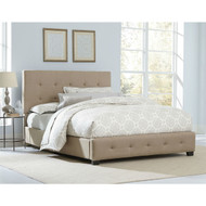 Queen Buckwheat Color Fabric Upholstered Bed with Tufted Headboard BHPB519842