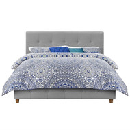 Queen size Grey Linen Upholstered Platform Bed with Button-Tufted Headboard DRLTUP1984821