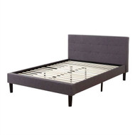 Queen size Modern Grey Linen Upholstered Platform Bed with Padded Tufted Headboard QUGPB1982541