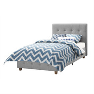 Twin size Grey Upholstered Platform Bed Frame with Button-Tufted Headboard RLTPBC519821