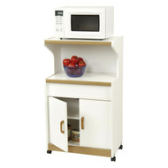 Kitchen Utility Microwave Cart in White & Medium Oak with Lower Storage AMCBD1988512