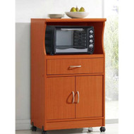 Mahogany Wood Finish Kitchen Cabinet Microwave Cart HMCBHCUE51981