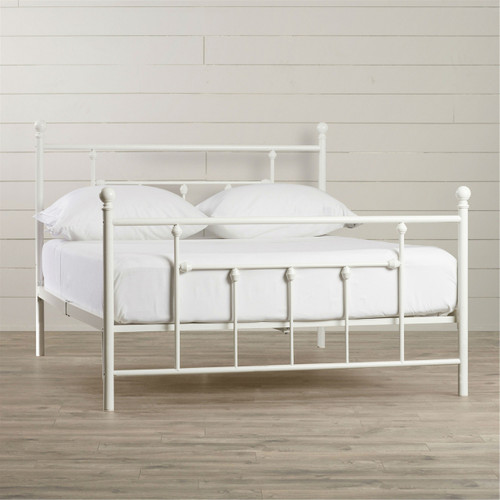 queen size white metal platform bed frame with headboard and footboard. Black Bedroom Furniture Sets. Home Design Ideas
