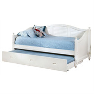 Twin size Louver White Wood Daybed with Roll-out Trundle Bed FOADB4189851