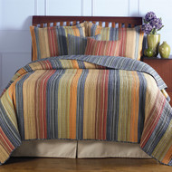 King size 100% Cotton Quilt Set with Brown Orange Red Blue Stripes GHKQ101528