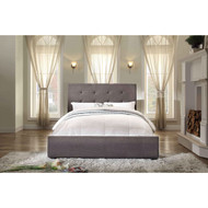 Queen size Grey Fabric Upholstered Bed with Tufted Headboard - Boxspring Required HEQUPB498247621