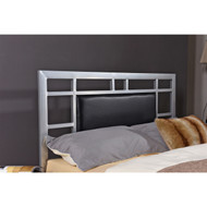 Queen Modern Classic Silver Metal Platform Bed Frame with Upholstered Headboard QUPBFCE18957152