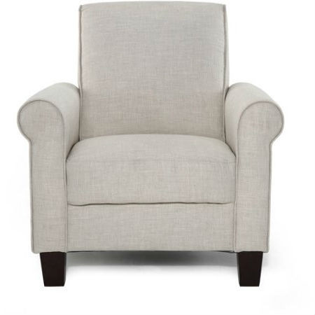 Taupe tan linen upholstered american style living room arm chair for Upholstered living room chairs with arms