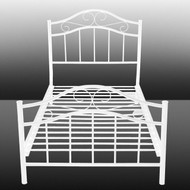 Twin White Metal Platform Bed Frame With Headboard