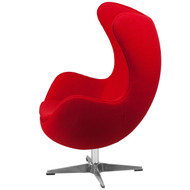Red Wool Fabric Contemporary Armchair Egg Shaped Living Room Accent Chair RACPCUD19812