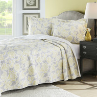 Full / Queen 3 Piece Lightweight Floral Yellow Gray Quilt Coverlet Set FQCG1488