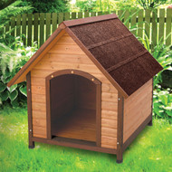 Medium 30-inch Solid Wood Dog House with Waterproof Shingle Roof WPAFD19875182