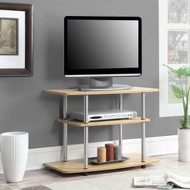 Modern TV Stand Light Oak Wood Finish with Sturdy Stainless Steel Poles CDTSH1988517413