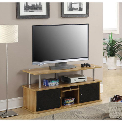 Modern 50-inch TV Stand in Light Oak / Black Wood Finish CTVSNLO984621