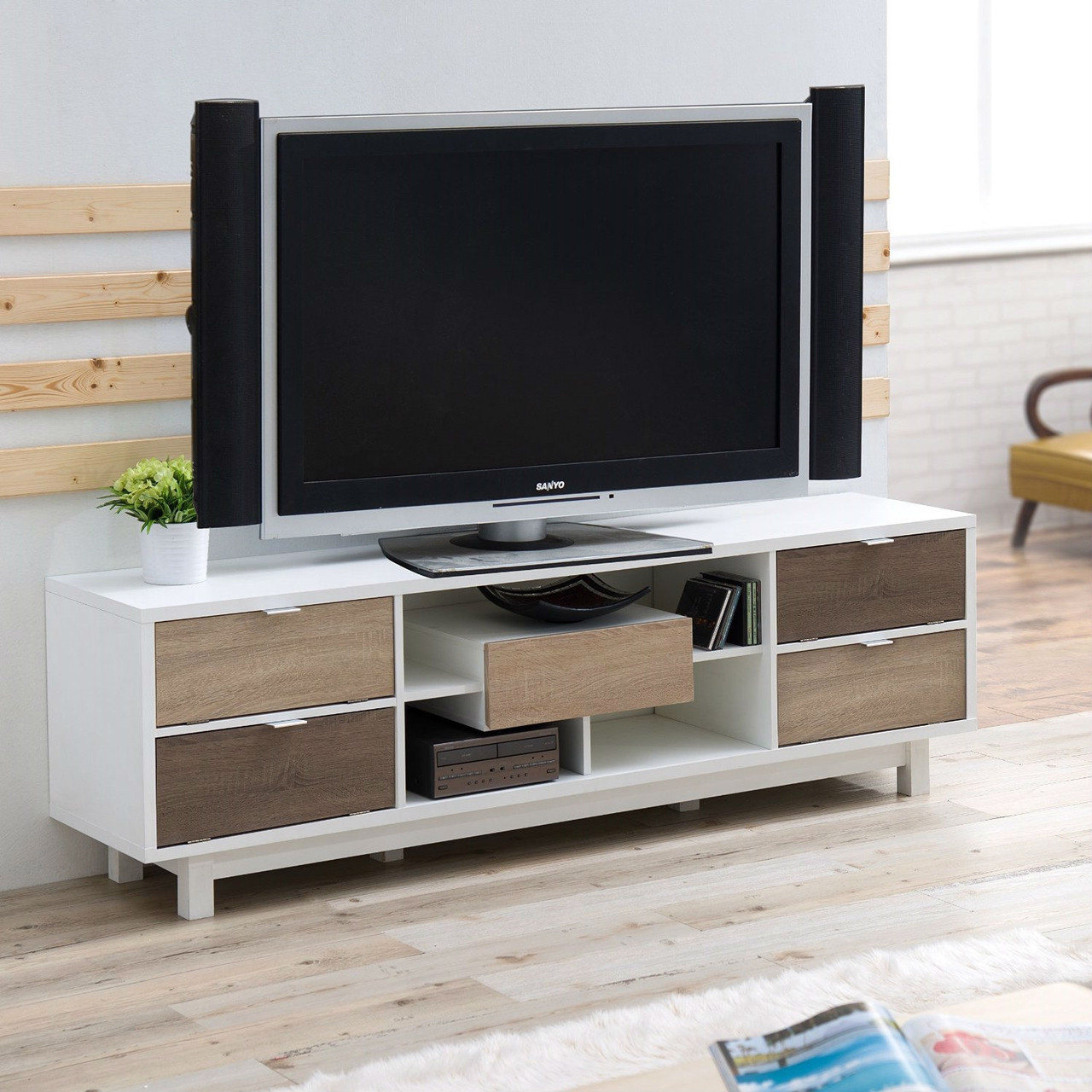 70 inch white tv stand entertainment center natural wood accents. Black Bedroom Furniture Sets. Home Design Ideas