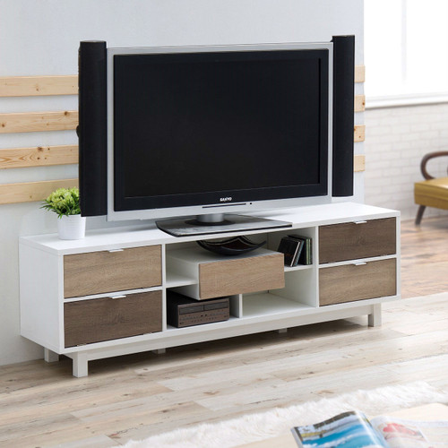Inch white tv stand entertainment center natural wood