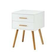 Modern 2-Drawer End Table Nightstand in White with Mid-Century Style Wood Legs CETDN19871261