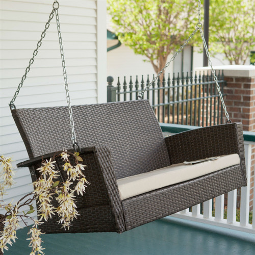 Modern Dark Brown Resin Wicker Porch Swing with Khaki Seat Cushion CSPS51984151