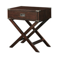Espresso Brown Wood 1-Drawer End Table Nightstand with X Legs ENETN198884751