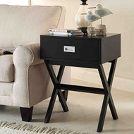 Modern 1-Drawer Bedside Table Nightstand End Table in Black Wood Finish LETBD971566321