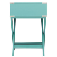 Marine Green Turquoise 1-Drawer Modern End Table Nightstand MGEDBN94123651
